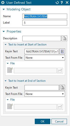Simcenter Nastran DB Settings