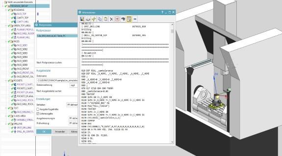Integrierter Postprozessor und Werkzeugmaschinen-Simulation